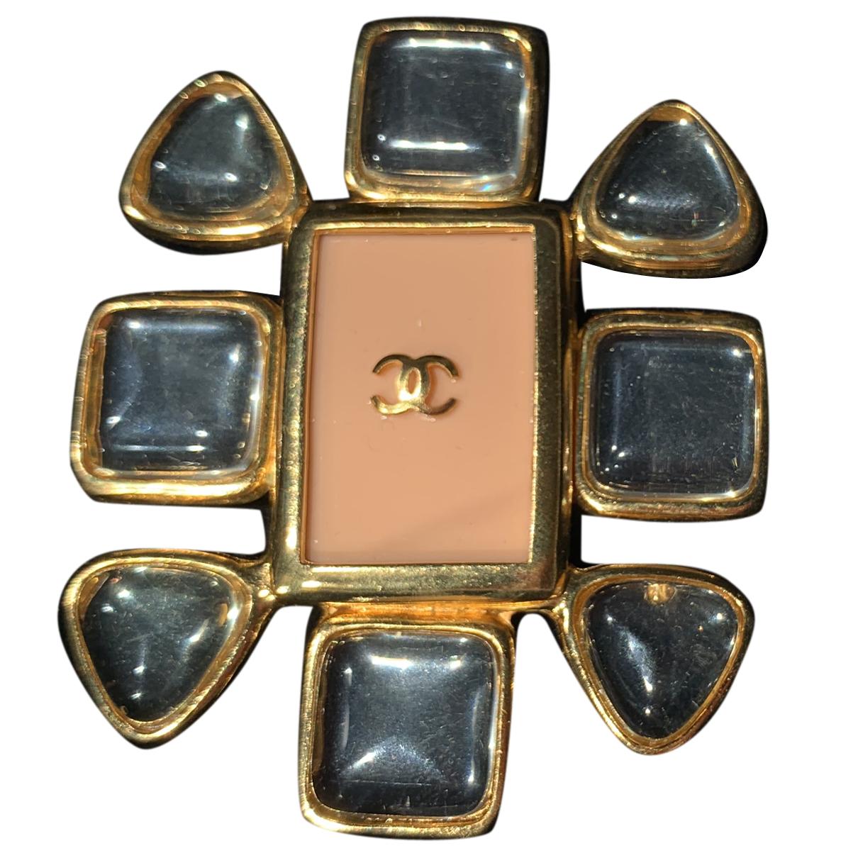 Broche Gripoix en Metal Dorado Chanel