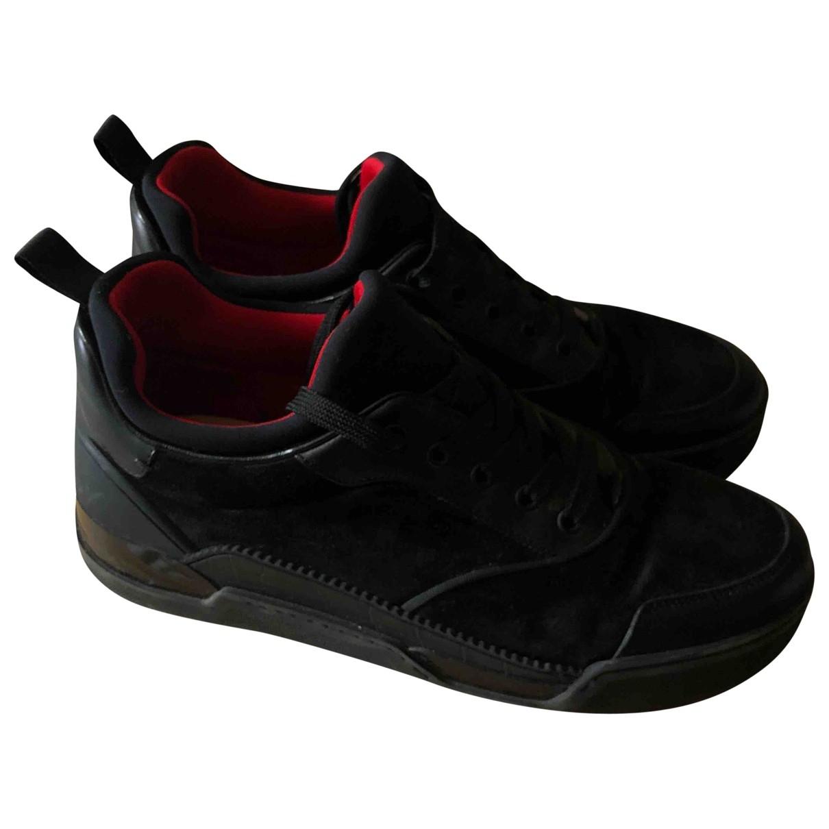 Christian Louboutin - Baskets   pour homme en suede - noir