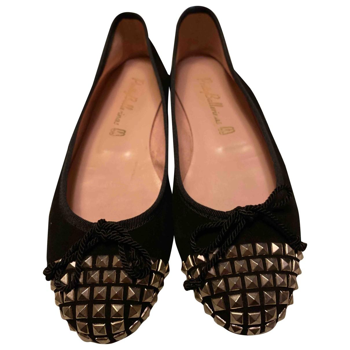 Pretty Ballerinas \N Black Leather Ballet flats for Women 37 EU