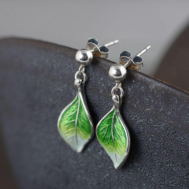 925 Sterling Silver Gradient Ear Stud Cloisonne Burn Blue Leaf Pendant Women Earrings
