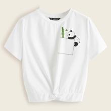Twist Hem Panda Print Tee