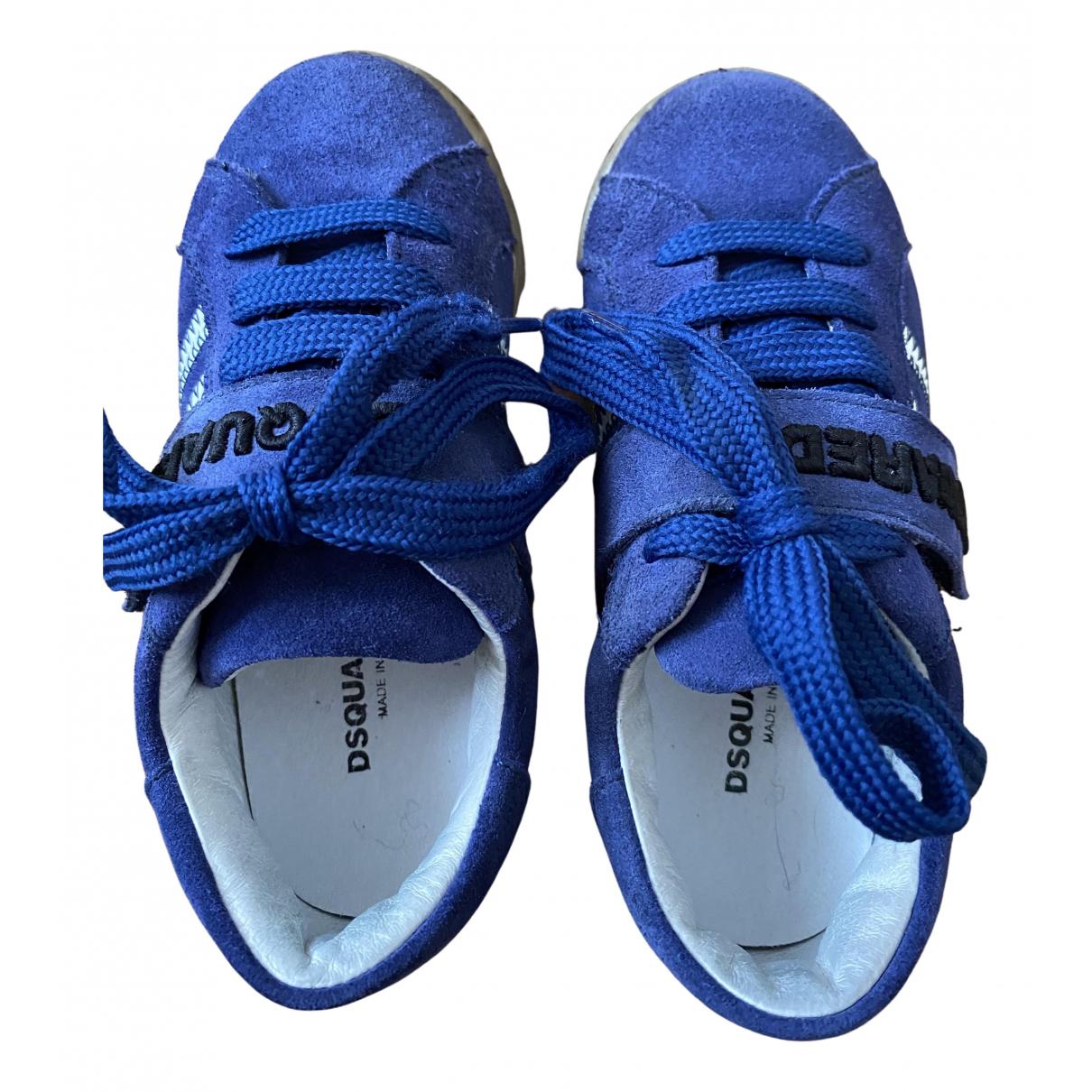 Dsquared2 - Baskets   pour enfant en suede - bleu