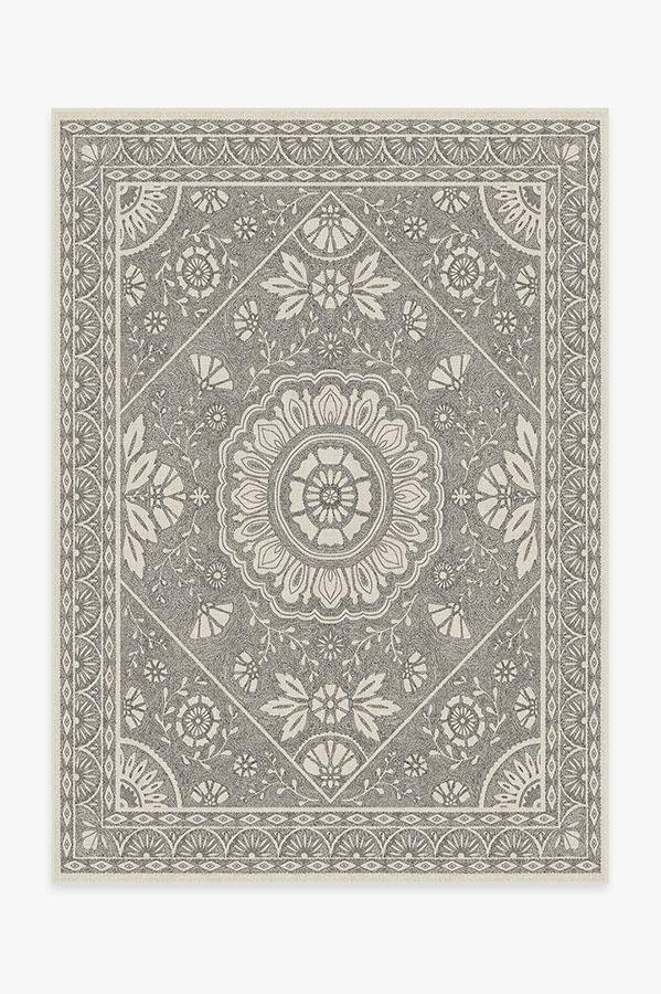 Washable Rug Cover & Pad | Almana Black & White Rug | Stain-Resistant | Ruggable | 5'x7'