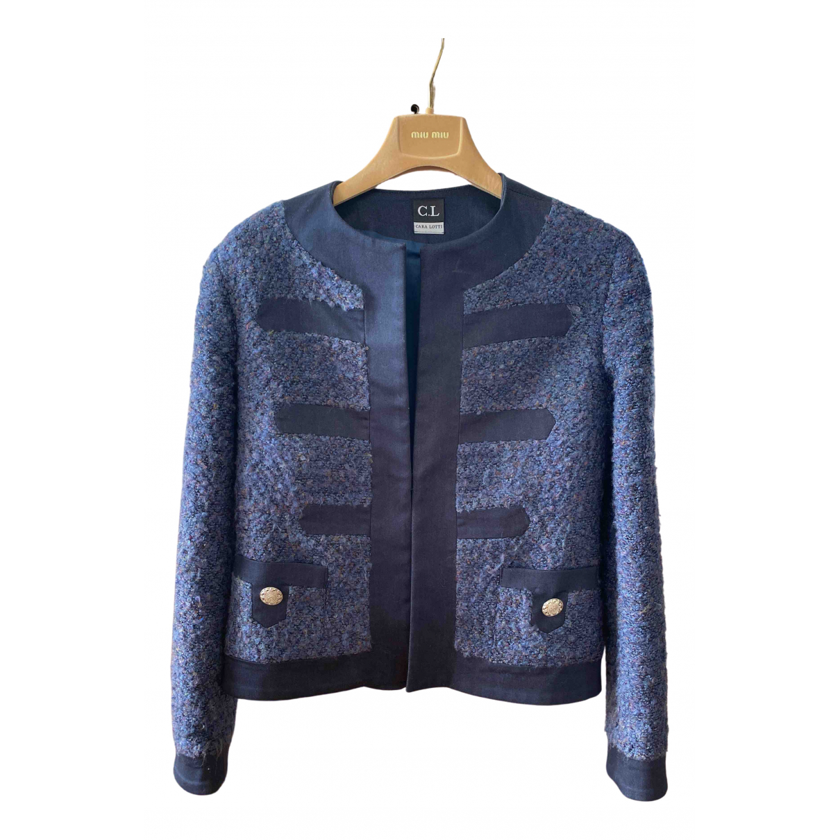 Non Signe / Unsigned \N Jacke in  Marine Wolle