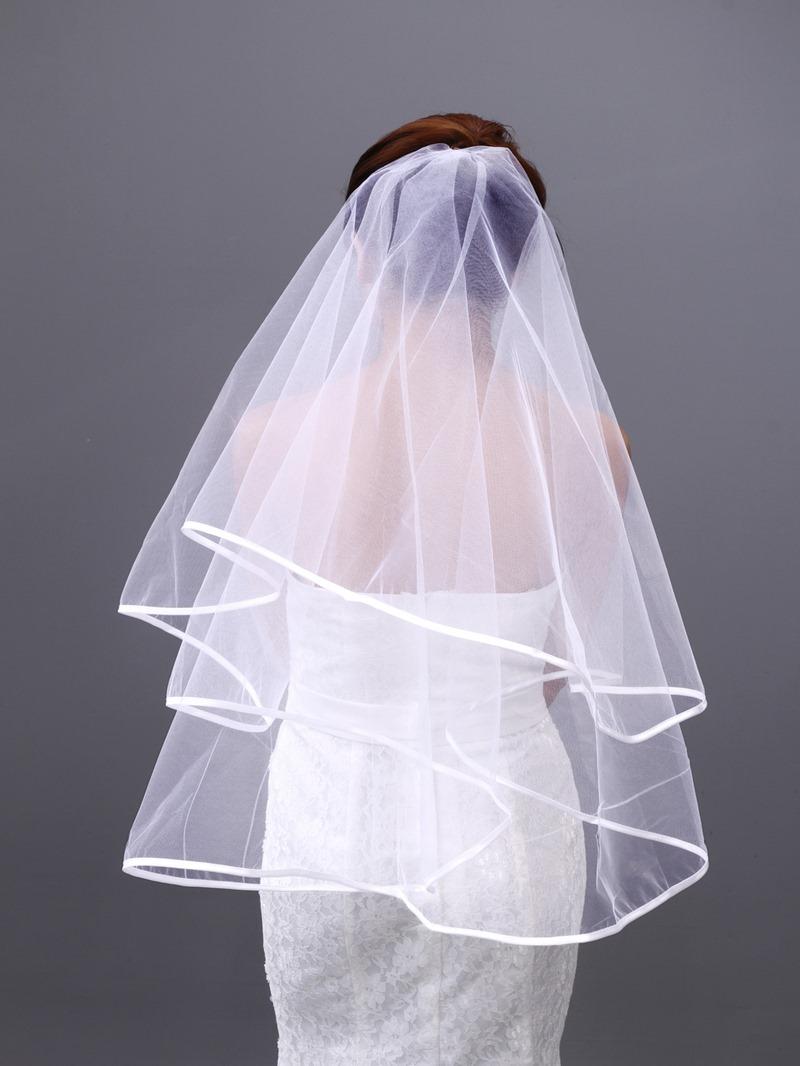 Elegant Elbow Bridal Veil with Satin Edge