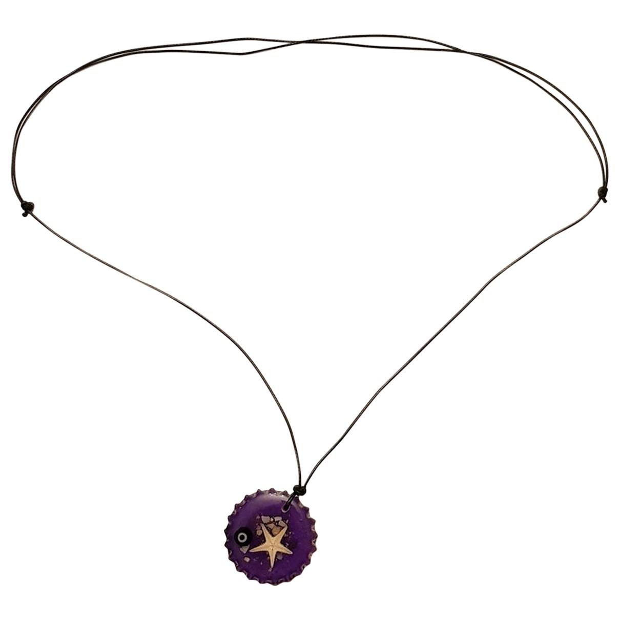 - Sautoir   pour femme en cuir - violet