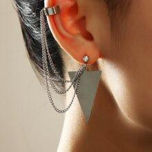 1 Stueck Ohrringe mit Dreieck Dekor und Kette