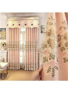 Romantic and Sweet Pink Color with Embroidered Flowers 2 Panels Living Room Sheer Curtain