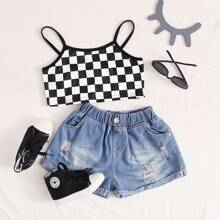 Girls Checked Print Cami Top