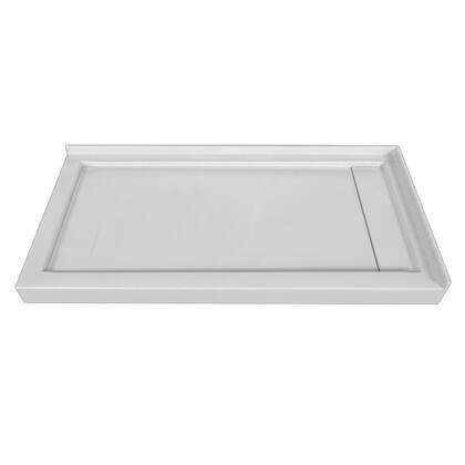 SBLDDT-6032R-LT-WHT Double Threshold White Acrylic Linear Drain Shower Base Left Hand
