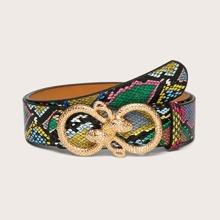 Snakeskin Pattern Serpentine Buckle Belt