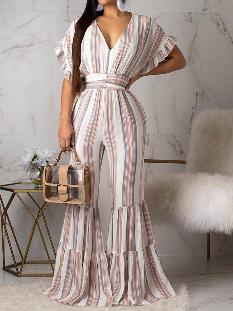 Ericdress Stripe Print Full Length Slim Casual Jumpsuit