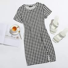 Kleid mit Schlitz am Saum und Karo Muster