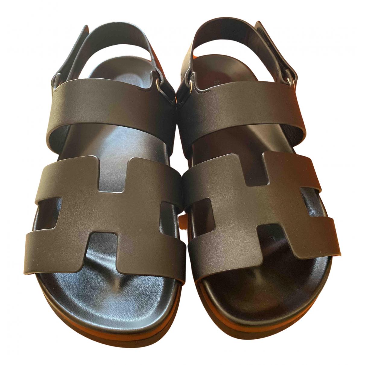 Hermès Takara Black Leather Sandals for Women 40 IT