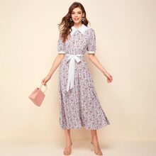 Contrast Guipure Lace Collar Puff Sleeve Ditsy Floral Dress