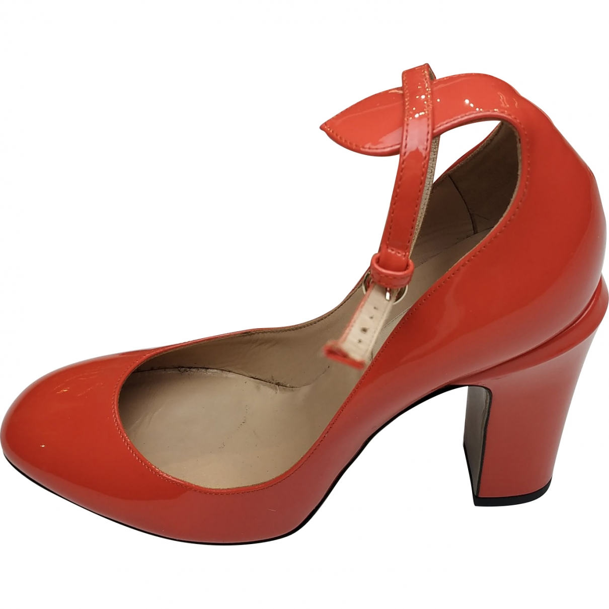Valentino Garavani Tango Orange Patent leather Heels for Women 37 EU