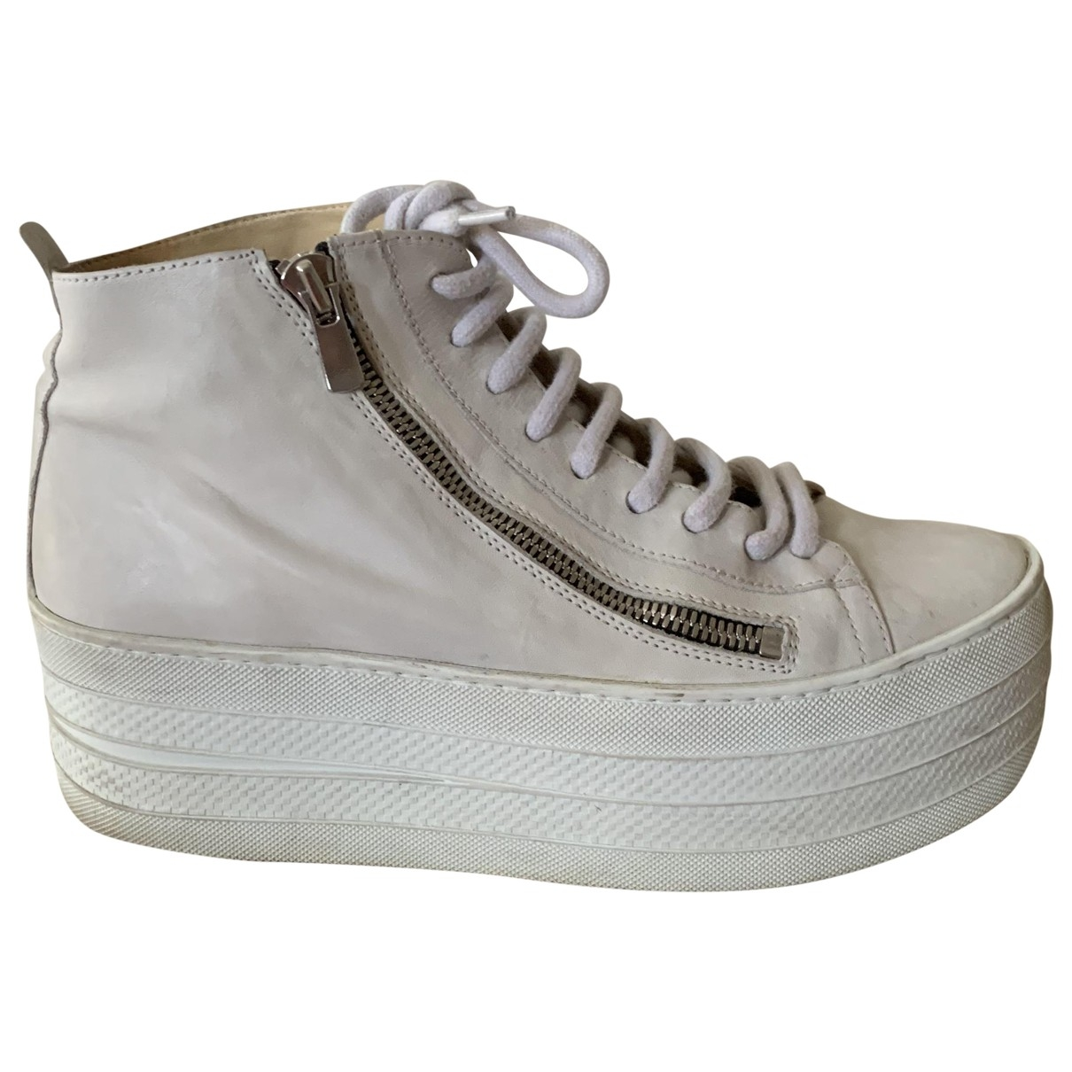 Free Lance \N Ecru Leather Trainers for Women 37 EU
