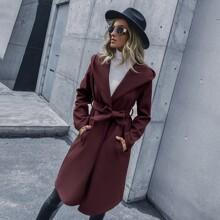 Slant Pockets Belted Hooded Overcoat