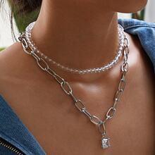 Rhinestone Decor Chain Necklace 2pcs
