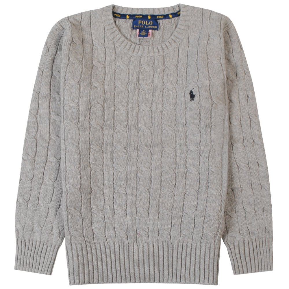 Ralph Lauren Kids Knitted Jumper Colour: GREY, Size: 6 YEARS