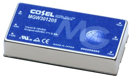 Cosel MGW 30W Isolated DC-DC Converter PCB Mount, Voltage in 9 → 18 V dc, Voltage out ±24V dc