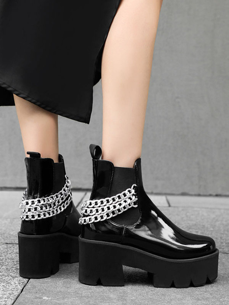Milanoo Women Ankle Boots White PU Leather Round Toe Chains Chunky Heel Women Booties