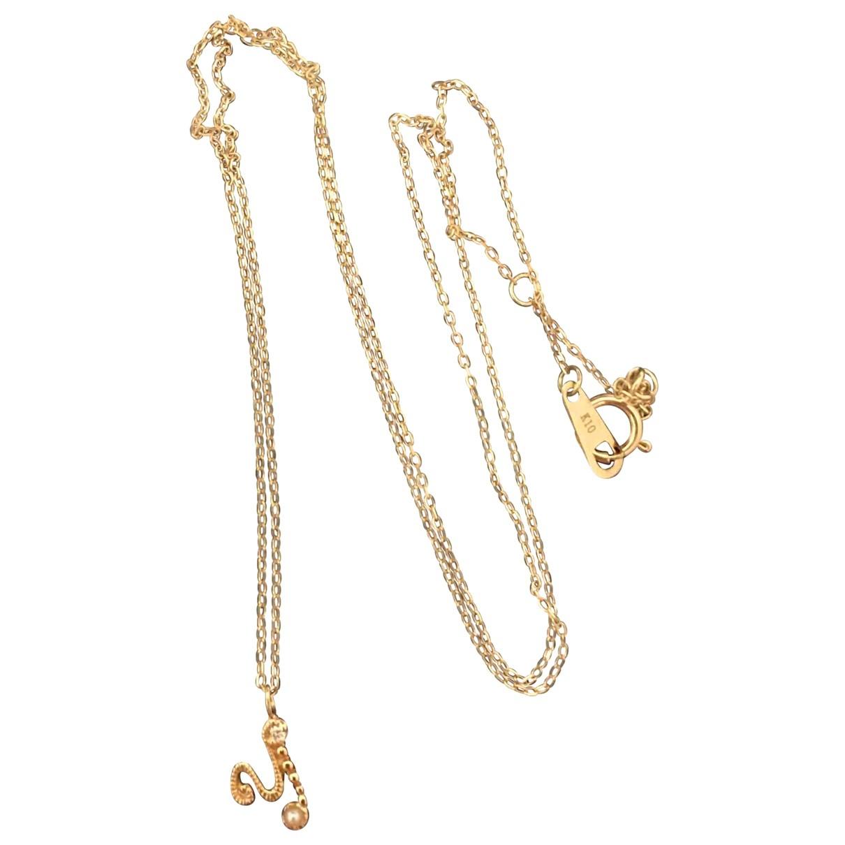 - Collier Motifs Lettres pour femme en or jaune - dore