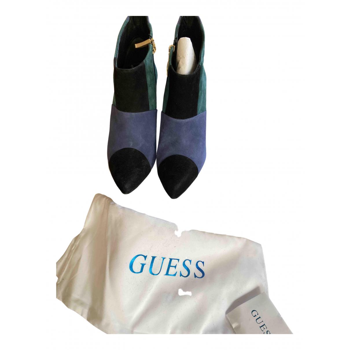 Guess - Boots   pour femme en suede - bleu