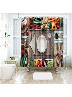 3D Service Plate Printed Polyester Bathroom Shower Curtain
