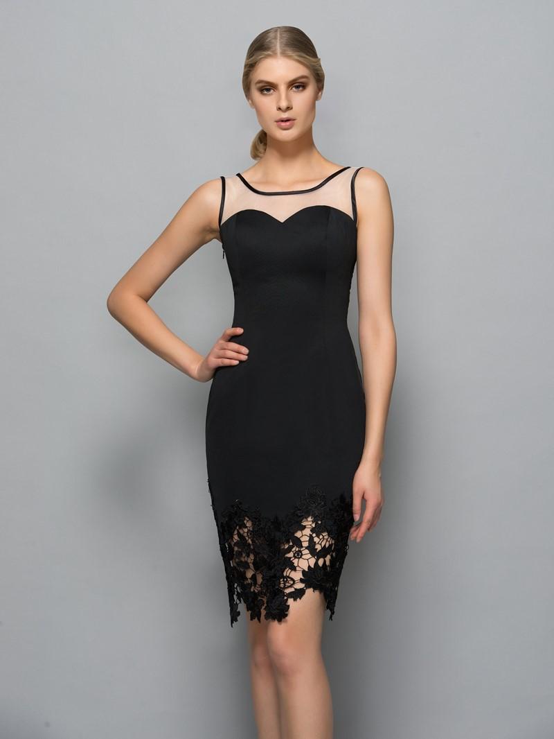 Ericdress Square Neck Lace Sheath Black Cocktail Dress