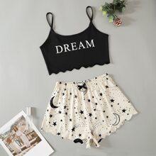 Crop Cami Top mit Buchstaben, Galaxie Muster, Bogenkante & Shorts Schlafanzug Set