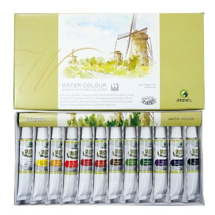Marie's ensemble aquarelle, tubes de 12 ml - 12 couleurs assorties/boite