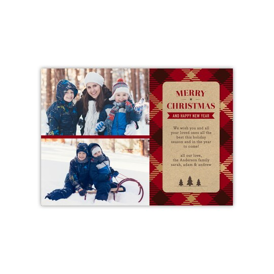 20 Pack of Gartner Studios® Personalized Golden Plaid Holiday Flat Photo Card in Brick | 5 x 7 | Michaels®