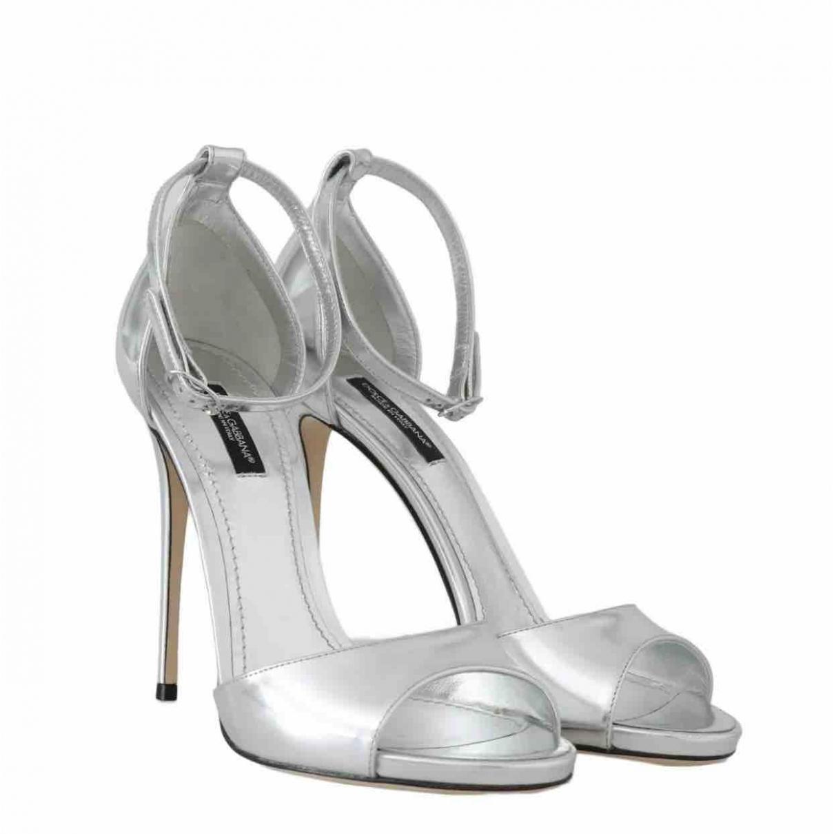 Dolce & Gabbana \N Silver Leather Sandals for Women 38 EU