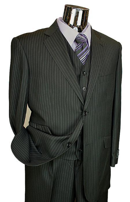 3 Piece 2 Button Black Pinstripe Italian Designer Suit Mens
