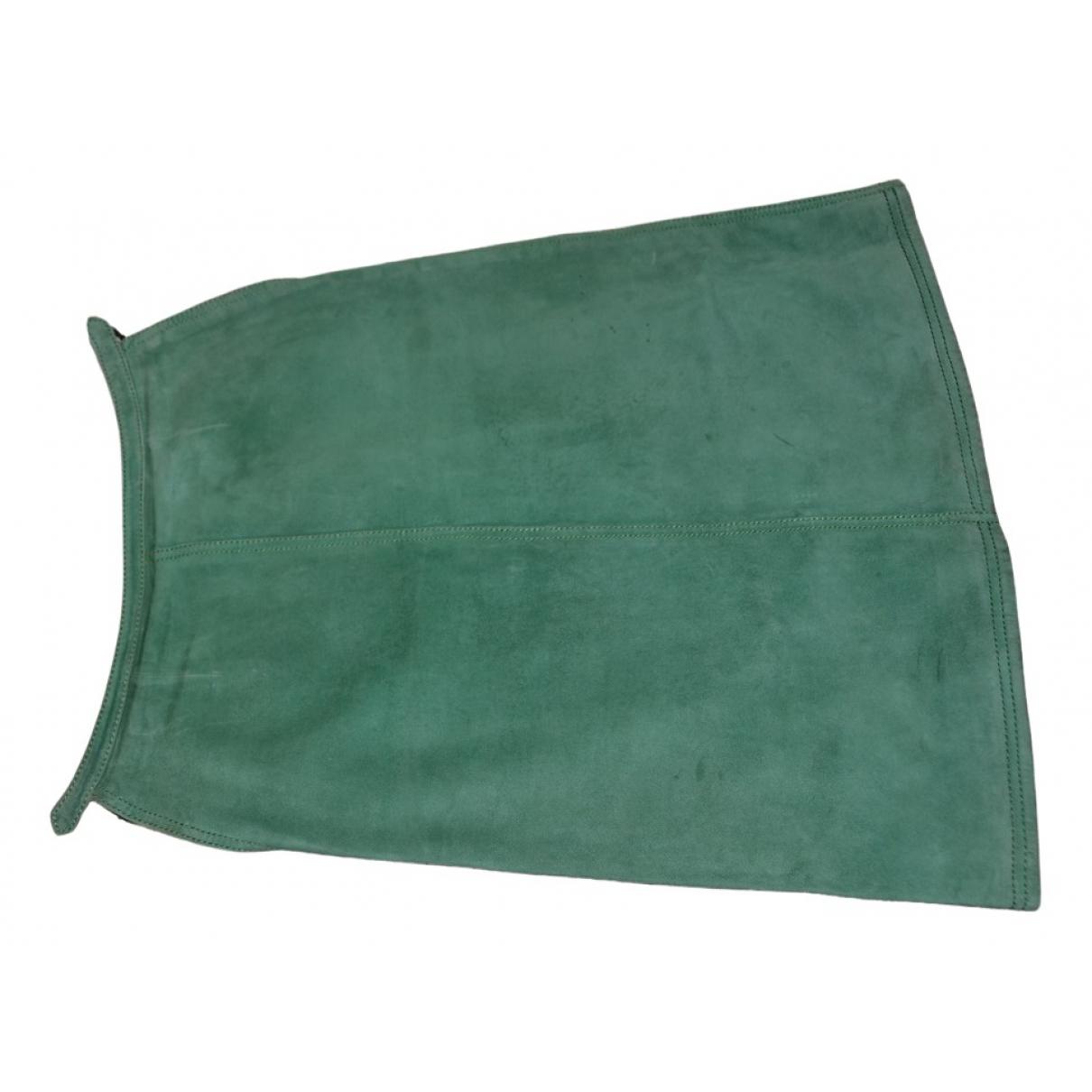 Hermes - Jupe   pour femme en suede - vert