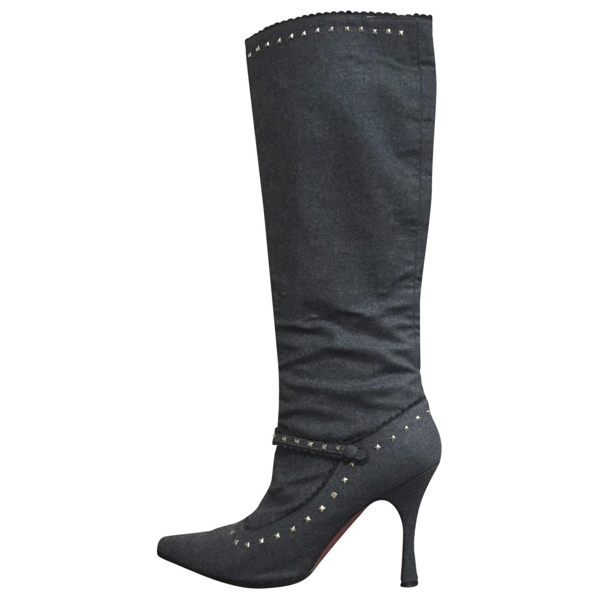 Christian Louboutin \N Grey Cloth Boots for Women 41 EU