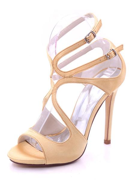 Milanoo Satin Wedding Shoes Peep Toe Cut Out Buckle Detail High Heel Bridal Shoes Bridesmaid Shoes