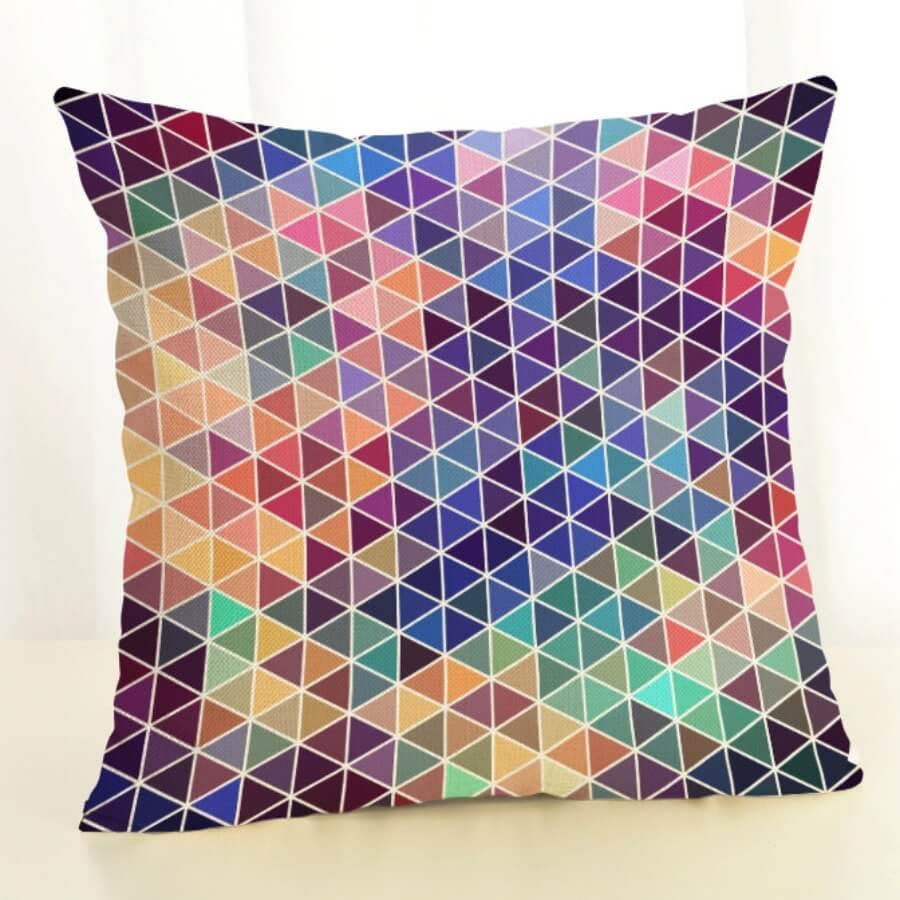 LW Lovely Geometric Print Multicolor Decorative Pillow Case