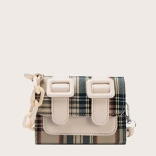 Mini Double Buckle Decor Crossbody Bag