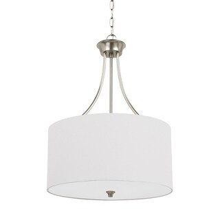 Sea Gull Stirling 3-light Satin Etched Glass Diffuser Pendant (Brushed Nickel finish/White linenfabric shades)