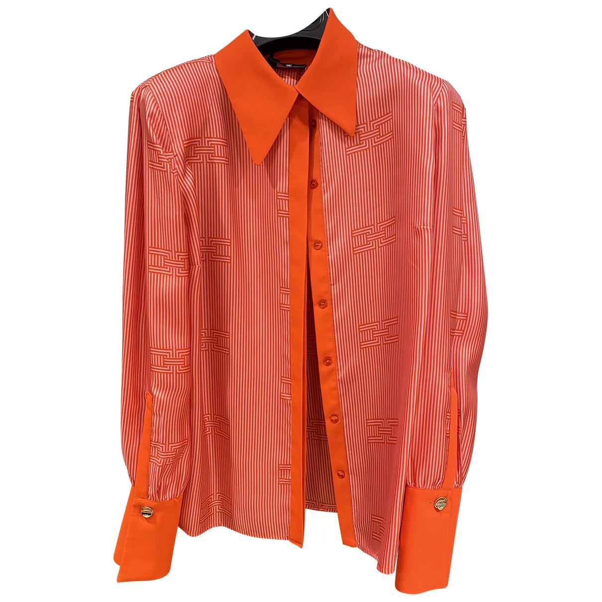 Elisabetta Franchi - Top   pour femme en soie - orange