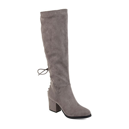 Journee Collection Womens Leeda Extra Wide Calf Riding Boots Block Heel Zip, 7 1/2 Medium, Gray