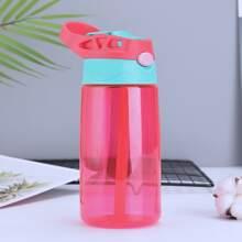 1pc Color Block Straw Bottle