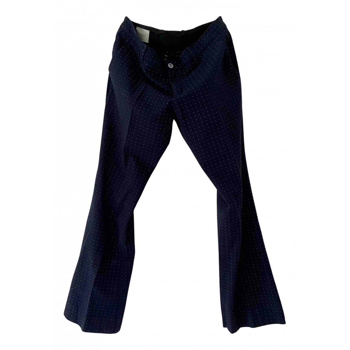Gucci N Navy Cotton Trousers for Women 46 IT