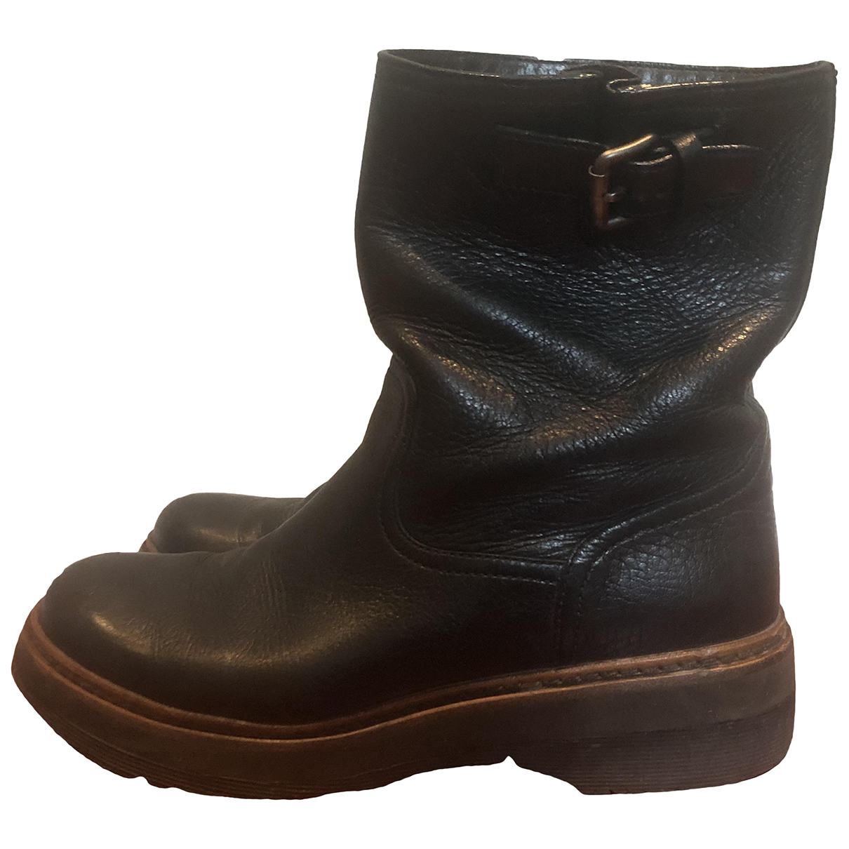 Prada N Black Leather Ankle boots for Women 37.5 EU