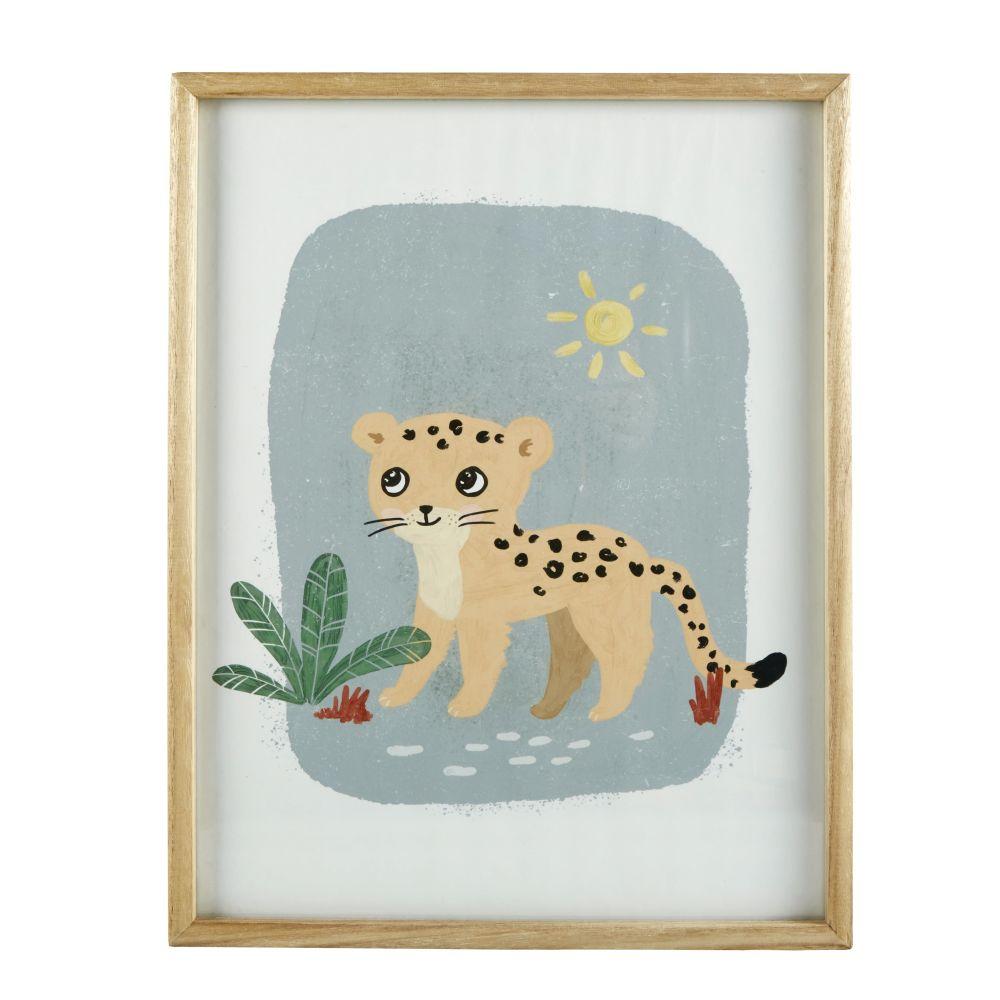 Kunstdruck Leopard, mehrfarbig 35x45