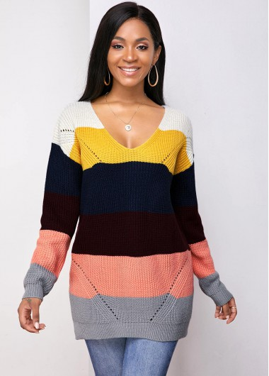 Trendy Long Sleeve Double Slit V Neck Contrast Sweater - XL