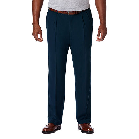 Haggar Cool 18 Pro Pleated Front Pant- Big & Tall, 48 30, Blue