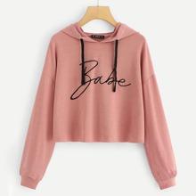 Rosa Sweatshirt mit Band und Buchstaben